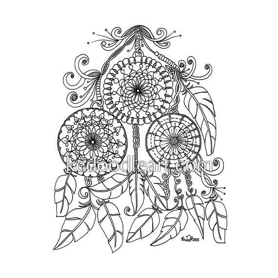 570x570 Instant Digital Download Adult Coloring Page Dream Catcher