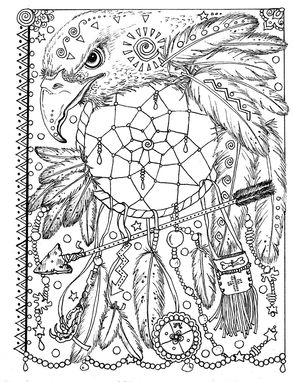 1155x1500 Animal Spirit Dreamcatchers Coloring Fun For All Ages Coloring