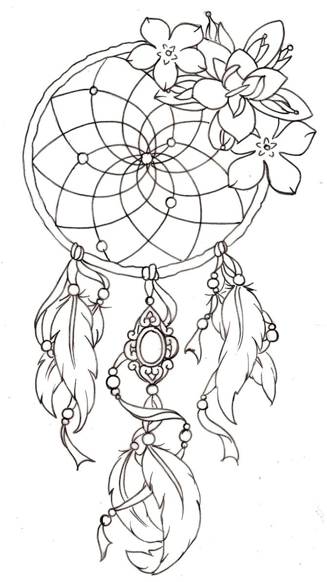 670x1191 Dreamcatcher Coloring Page