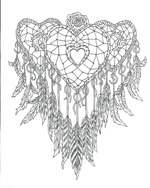 570x711 Dreamcatcher Coloring Pages Printable Heart Dream Catcher Page