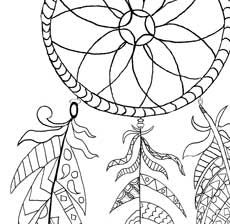 230x224 Free Printable Dream Catcher Coloring Page Dream Catchers