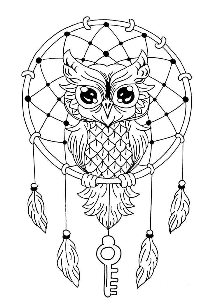 754x1024 Dream Catcher Coloring Page Owl Dreamcatcher Owls Pages For Adults