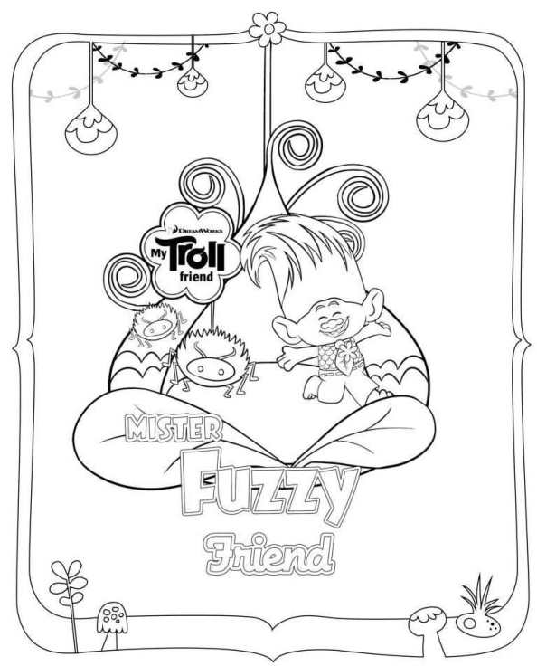 594x736 Dreamworks Trolls Fuzzy Coloring Pages