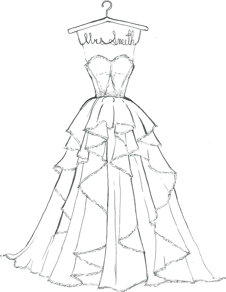 736x950 Coloring Pages Of Wedding Dresses Pages Of Wedding Dresses