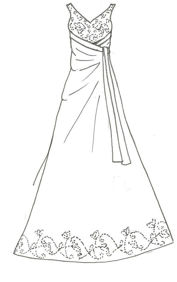 708x1128 Beautiful Dress Coloring Page For Girls