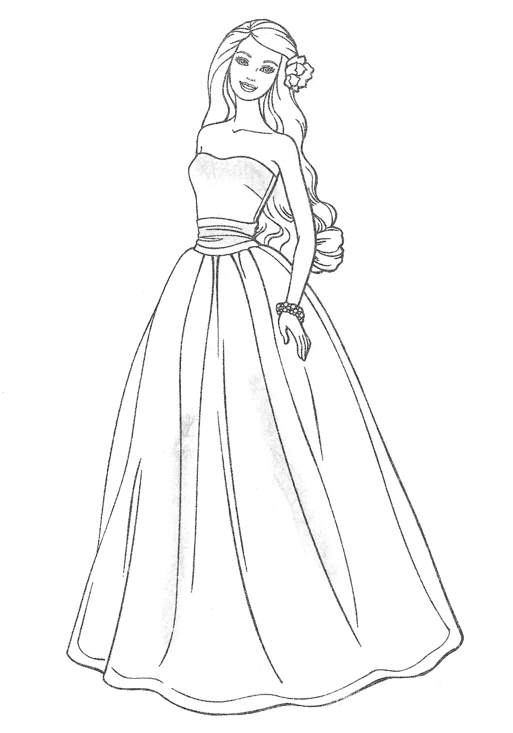1024x1461 Delighted Coloring Page Of A Dress Last Chance Barbie For Girls