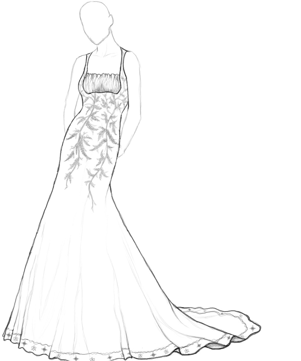 1000x1200 Drawn Wedding Dress Coloring Page