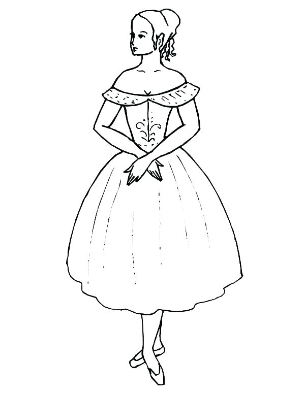 600x776 Dress Coloring Page Dress Coloring Page Ballerina Girl Wearing