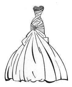 236x284 Ball Gown Coloring Page For Girls, Printable Free Coloring Pages