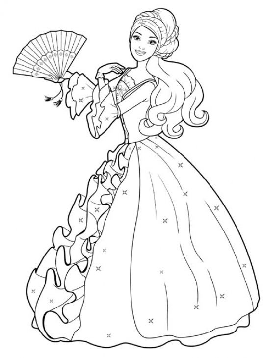 536x730 Free Barbie With Ball Gown Coloring Page Coloring Pages