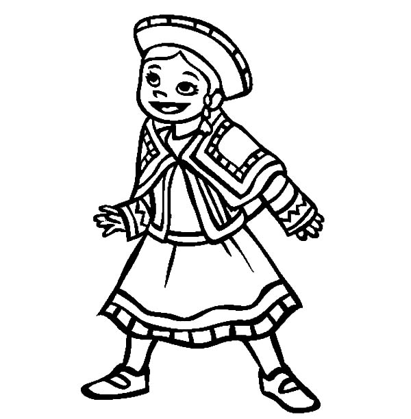 600x612 Little Mexican Girl Wearing Mexican Dress Coloring Pages Color Luna