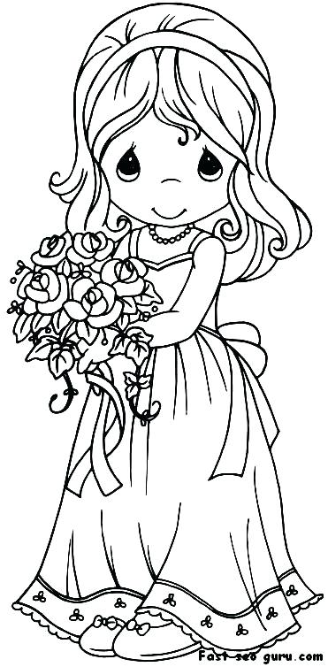 371x754 Coloring Pages Of Girls In Dresses