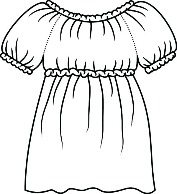 600x657 Dress Coloring Pages Dress Coloring Page For Printing Free Dress