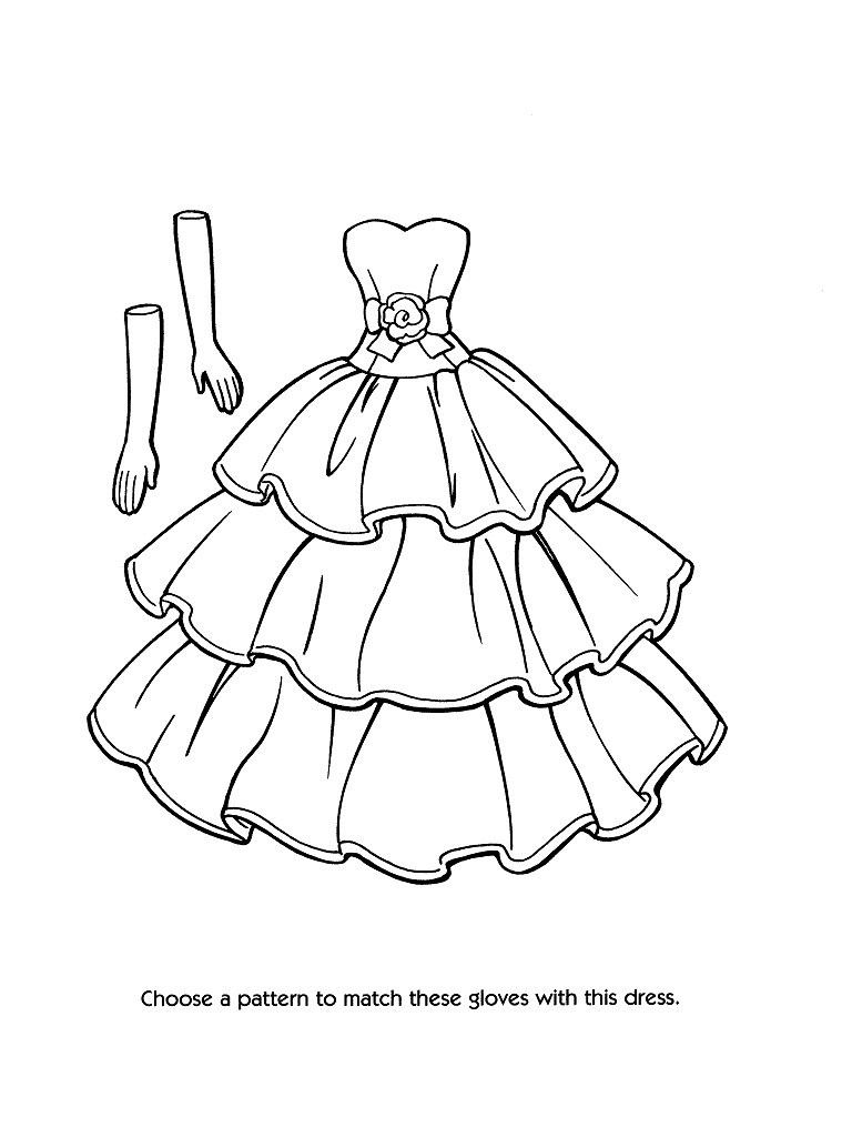 768x1024 Fashion Dress Coloring Pages