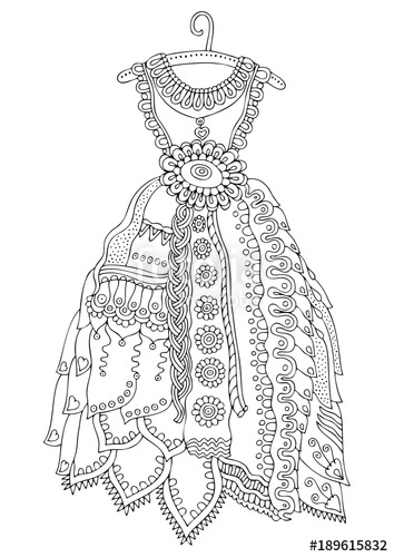 354x500 Women's Lace Dress Hand Drawn Illustration For Coloring Page