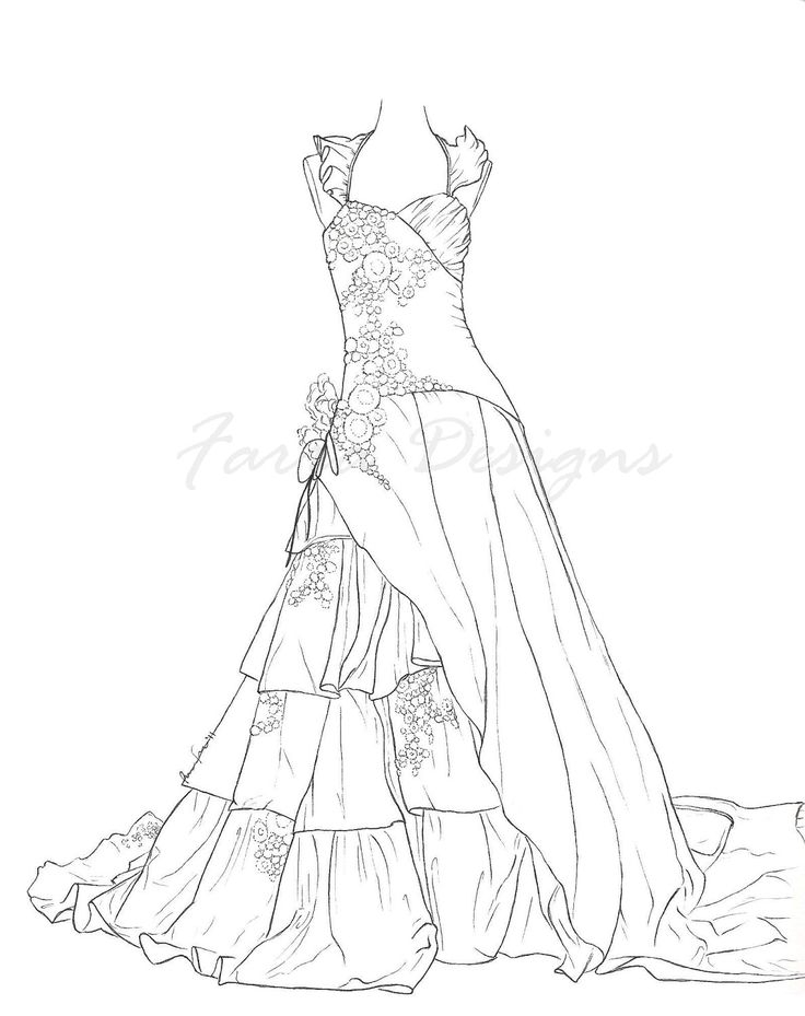 736x929 Free Printable Detailed Wedding Dresses Adult Coloring Pages Free