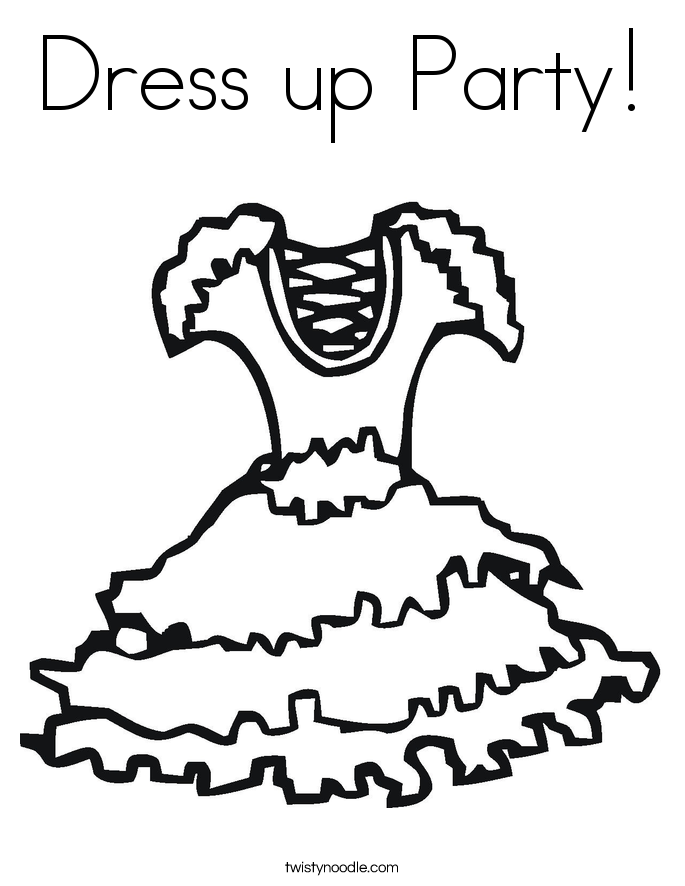 685x886 Dress Up Party Coloring Page