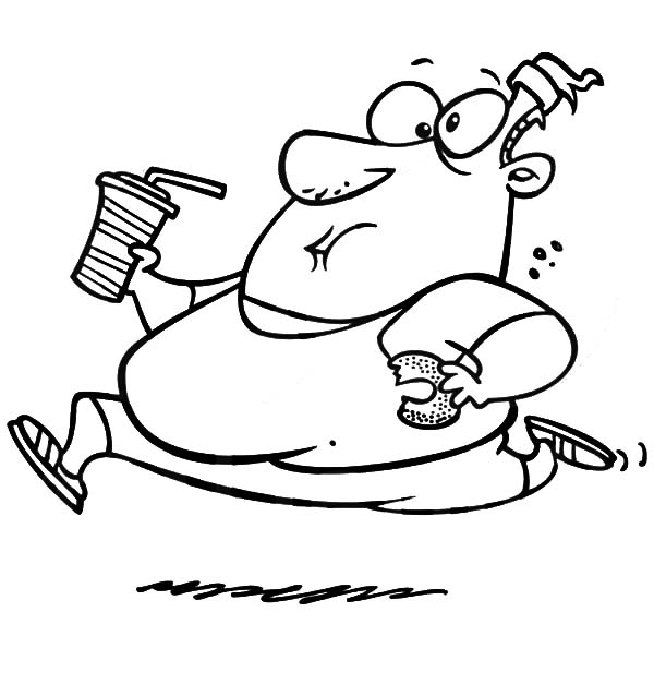 600x627 Fat Boy Running With Donut And Soft Drink Coloring Pages