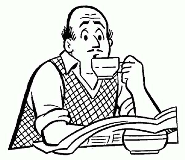 600x519 Mr Fred Andrews Drinking Coffee In Archie Comics Coloring Page