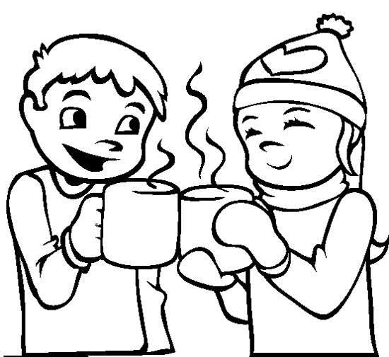 550x505 The Child Drink Hot Chocolate Coloring Page Grade