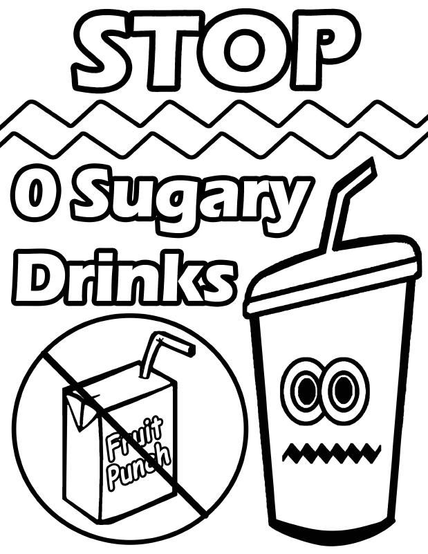 619x801 Healthy Drinks Colouring Pages, Healthy Living Coloring Pages