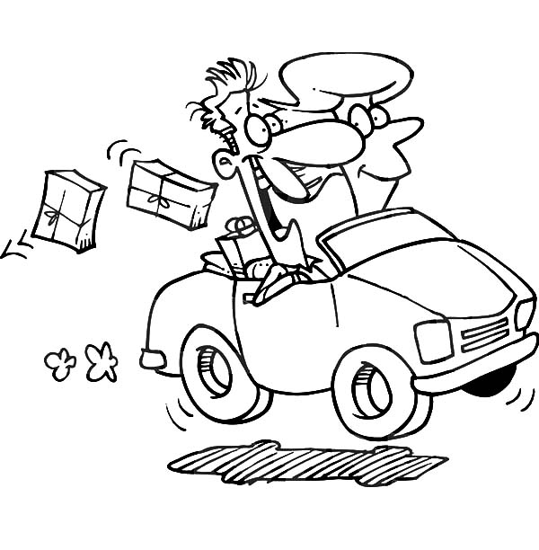 600x612 Couple Driving Car Dropping Packages Coloring Pages Best Place