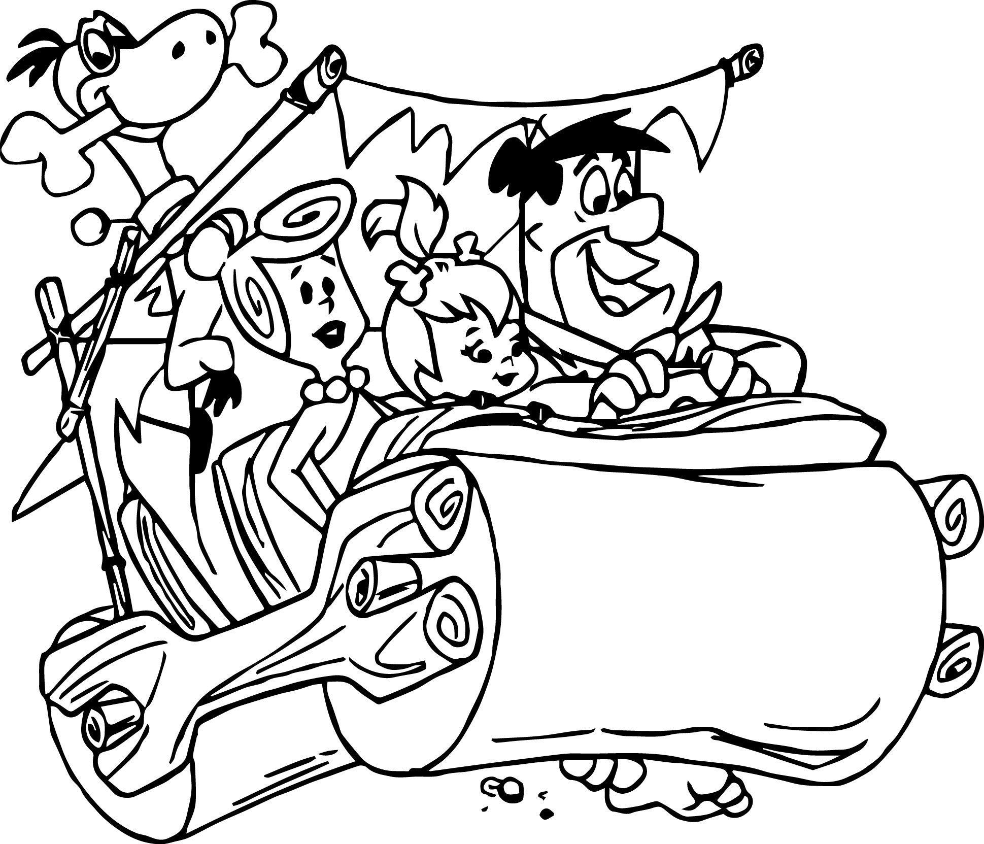 1939x1663 Flintstone Coloring Pages The Flintstones Fred Driving Car