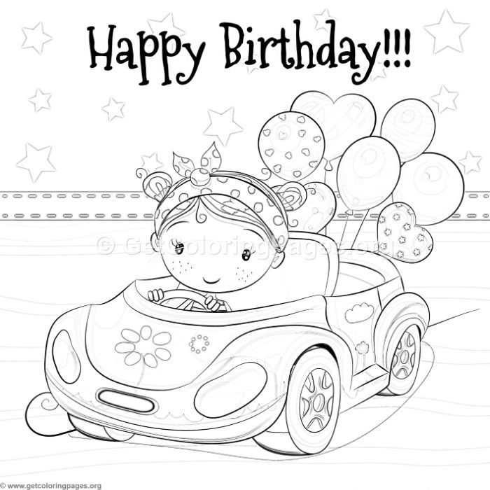 700x700 Free Download Little Girl Driving A Car And Balloons Coloring