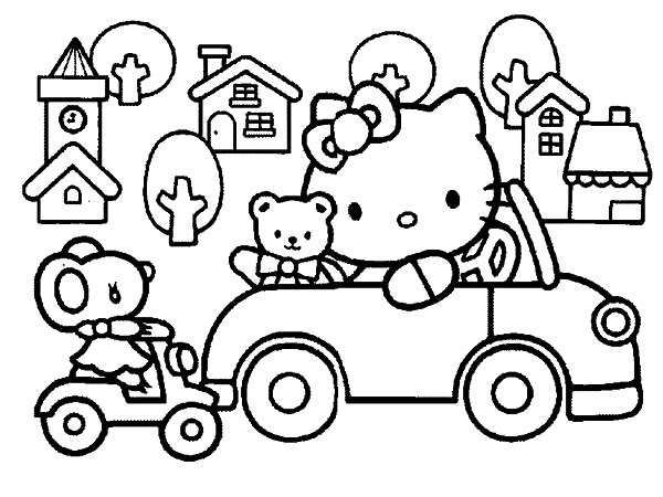 600x450 Hello Kitty Driving Car Aroundwn Coloring Pages Best Place