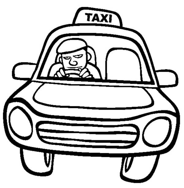 600x612 Taxi Driver Driving Car Coloring Pages Best Place To Color