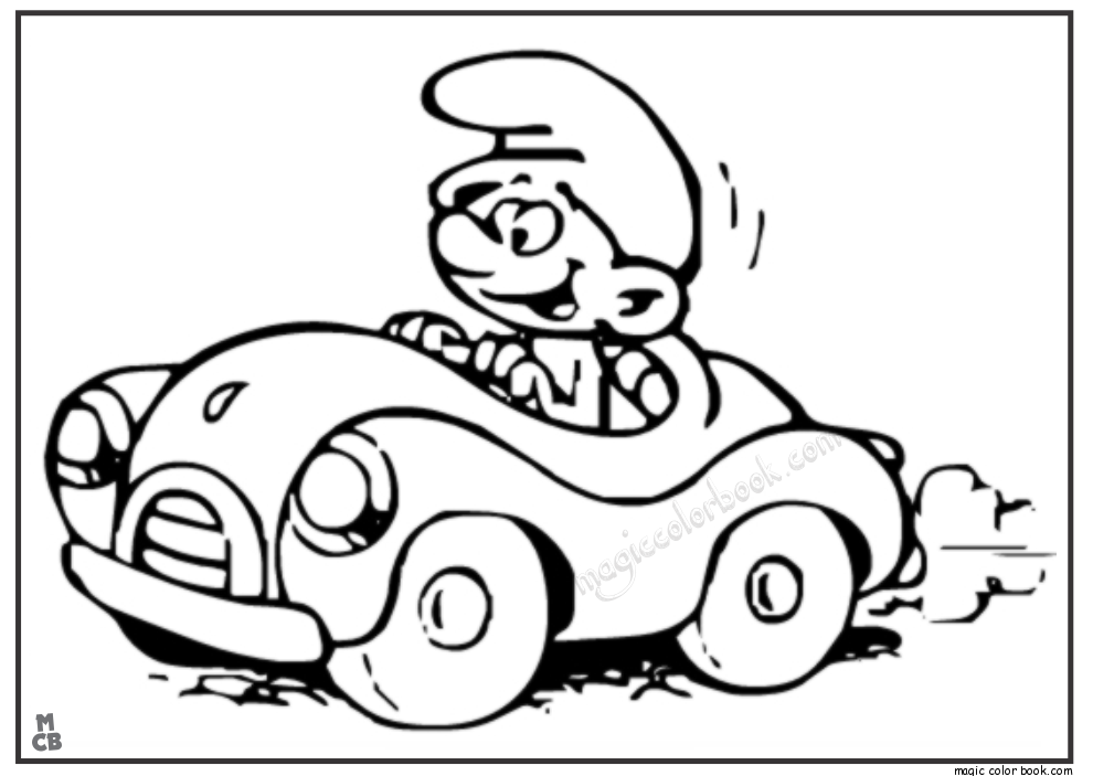990x703 Kid Driving Car Coloring Page