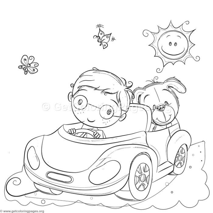 700x700 Boy And Dog Driving Coloring Pages