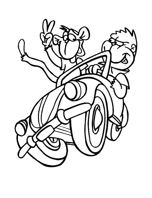 600x781 Monkey Driving A Car With A Friend Coloring Page