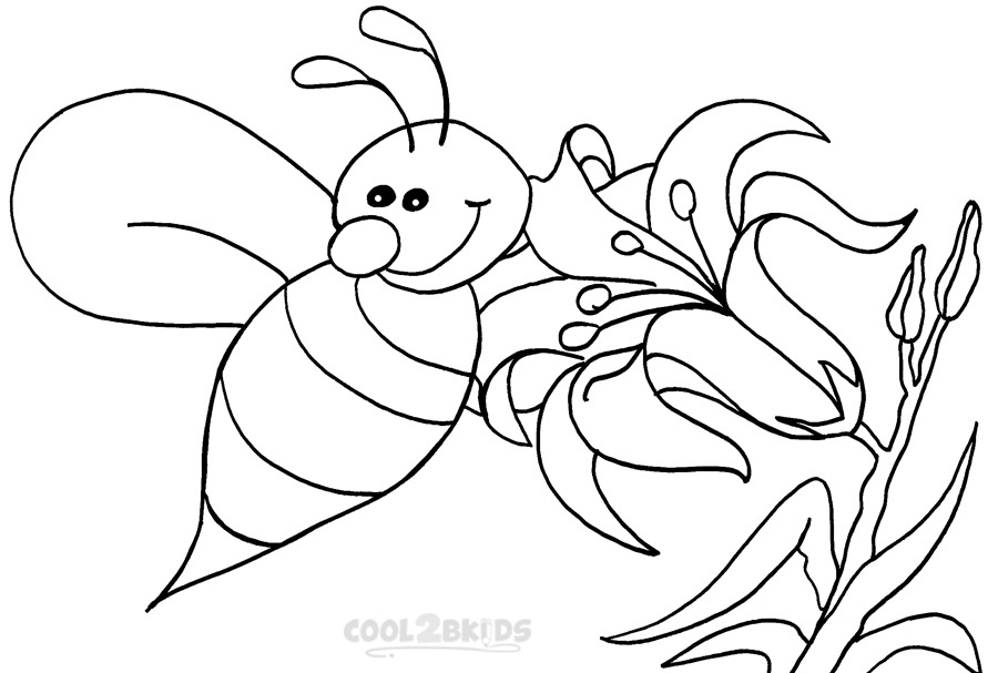 900x607 Bee Coloring Pages
