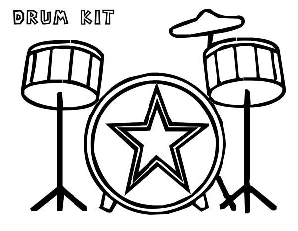 600x464 Drum Coloring Page Fascinating Drum Kit Is A Musical Instruments