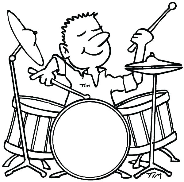 600x593 Drum Coloring Pages Drum Coloring Page Packed With Drum Coloring