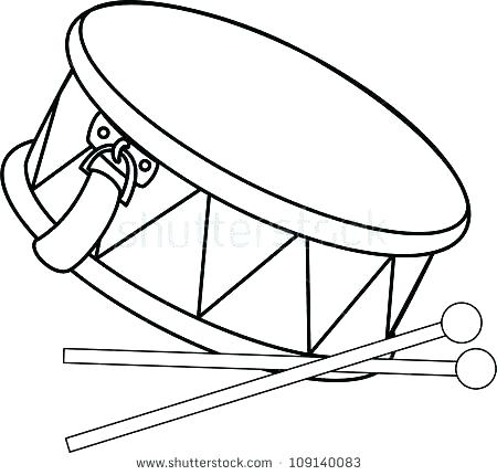 450x430 Drum Coloring Page Pin Drawn Instrument Snare Kit Sheet Set Col