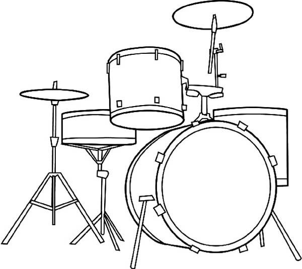 600x535 Awesome Musical Instruments Drum Set Coloring Pages Bulk Color
