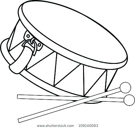 450x430 Drum Coloring Sheet Drum Coloring Page Pin Drawn Instrument Snare