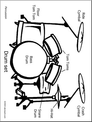 304x404 Coloring Page Drum Set Abcteach