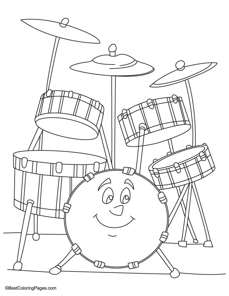 738x954 Free How To Draw A Drum Kit Coloring Pages, Drum Set Coloring Page