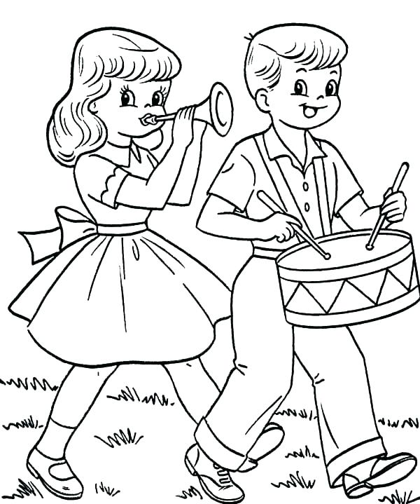 600x719 Drum Coloring Page Drum Coloring Page Boy Play The Drum