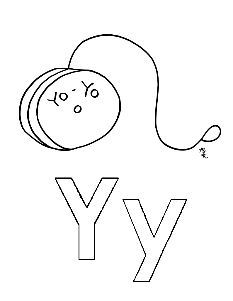795x1026 Y Is For Yo Yo Coloring Page Crayon Action Coloring Pages