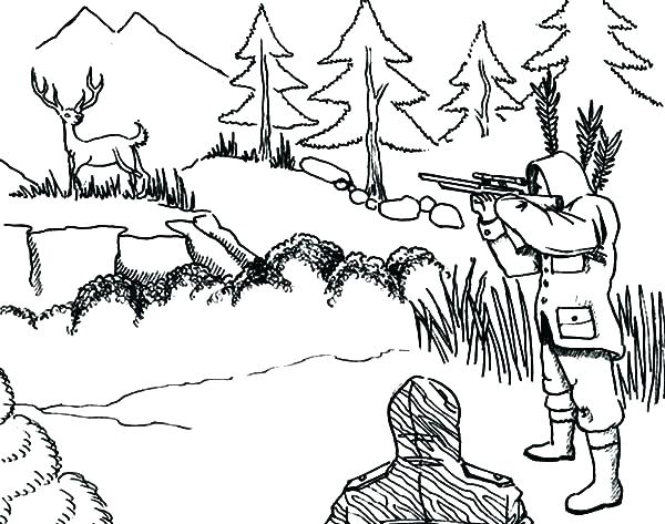 600x473 Deer Hunter Coloring Pages