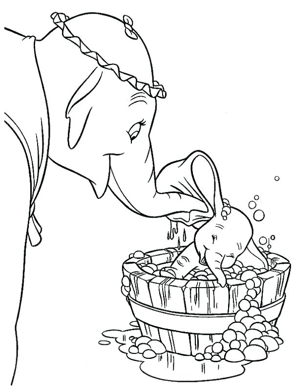 600x804 Dumbo Coloring Pages Free Dumbo Take Dumbo The Elephant To Bath