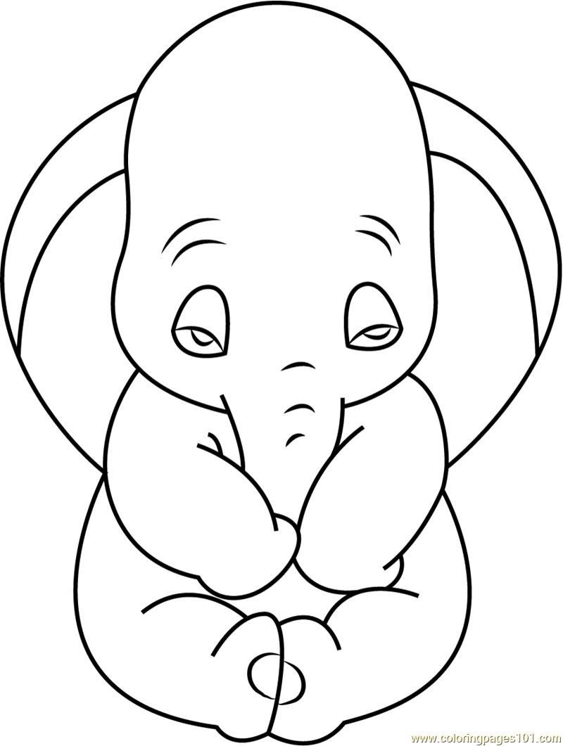 800x1061 Sad Dumbo Coloring Page