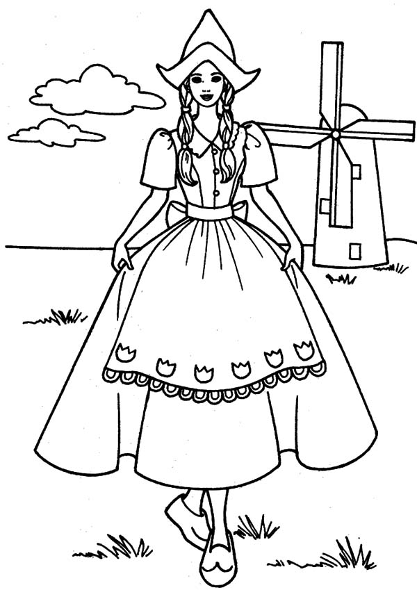 600x859 Dutch Girl Standing In Front Of Windmills Coloring Pages Batch