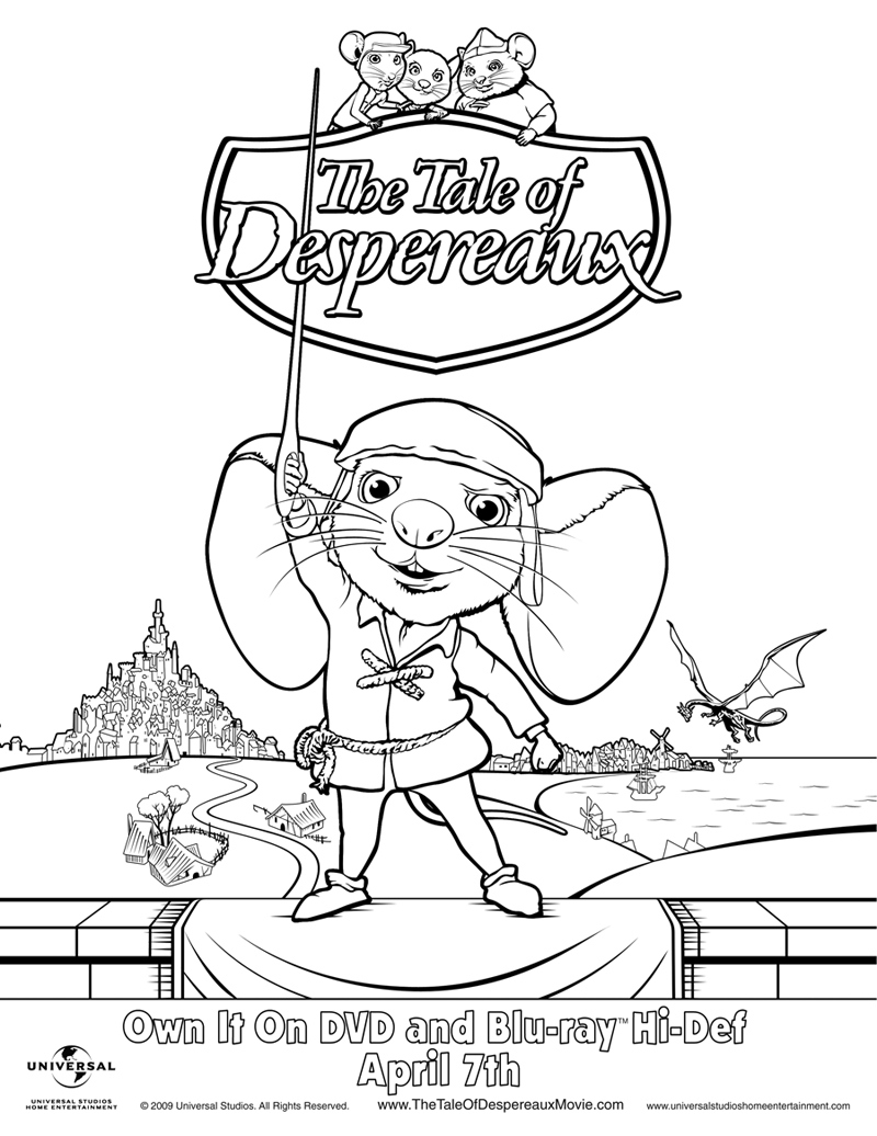 800x1036 Easily Tale Of Despereaux Coloring Pages Dynamite Download