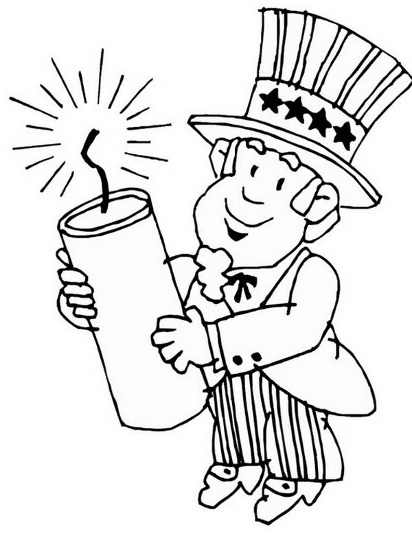 600x806 Uncle Sam Holding A Dynamite Coloring Page