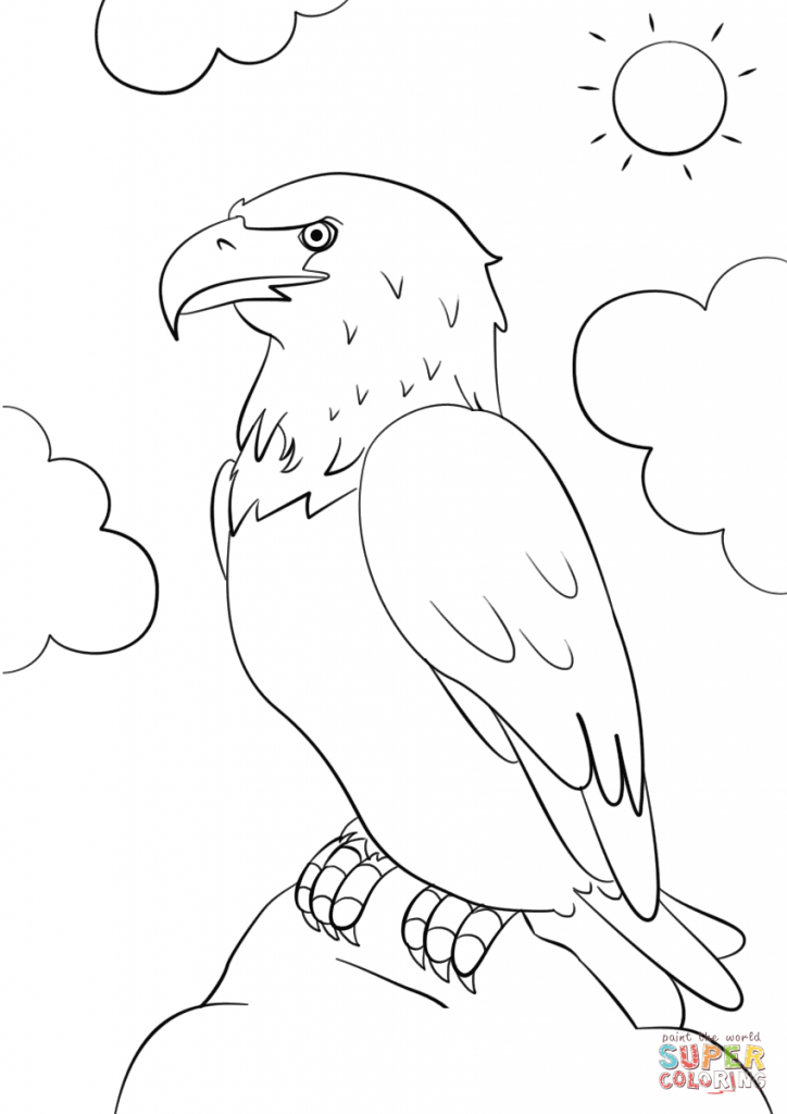 724x1024 Eagle Printable Coloring Pages With Usa Flag Birds Bald Animals